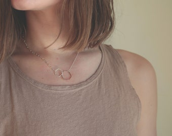 Unified Mixed Metal Hexagon Necklace