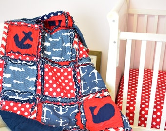 Nautical Baby Boy Rag Quilt for Nursery Crib Bedding - Navy / Red