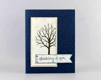 Thinking of You Card -  Handmade Card - Hand Stamped Card - Stampin' Up! Just Because Card - Thinking of You Greeting Card- Winter Tree Card