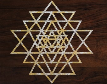 "Sacred geometry sticker Yantra die-cut decal  (3""x3"") Gold foil"