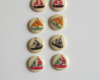 Sail Boats print Wooden 1cm buttons - set of 8