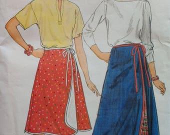 1980s Misses Wrap Skirt Pattern Butterick 6307 Misses Size 14 16 18 Long Wrap Skirt Short Wrap Skirt