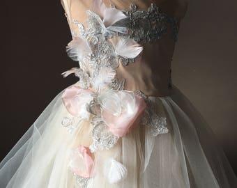 PARIS Champagne Tulle Flower Girl Dress Vintage Dress Wedding Bridesmaid Dress Dusty Blue lace