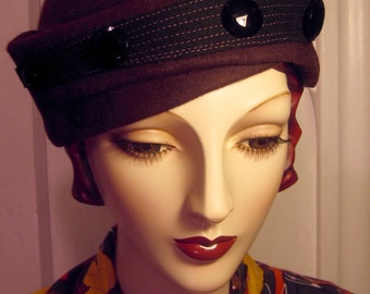 1930's Sculpted Toque with Jet Buttons
