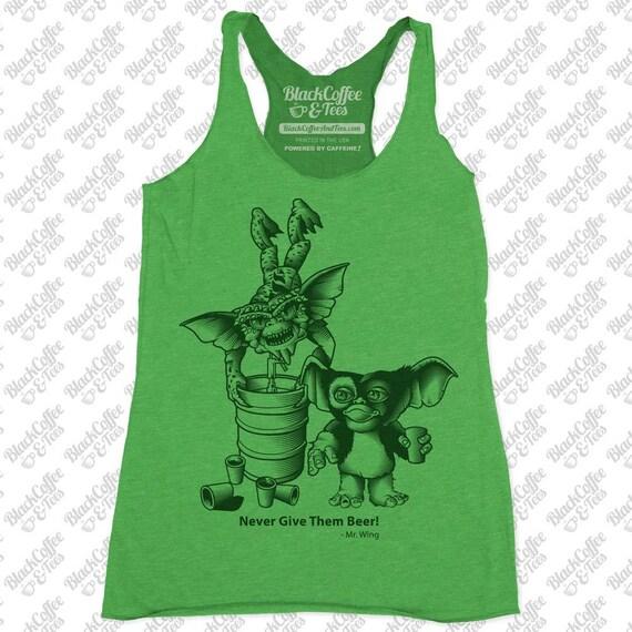 Gremlins Shirt - Womens St Patricks Day Shirt - Womens Gremlins Shirt -Gremlins Drinking Beer Hand Screen Printed on a Womens Green Tank Top