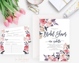 Printable Bridal Shower Invitation /  Shower Invite, Wedding Shower  - Mia Isabella
