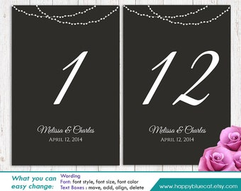 "DiY Printable Table Number Card Template - Instant Download - EDITABLE TEXT - String lights 4""x6"" - Microsoft® Word Format HBC003"