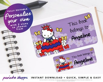 Hello Kitty Princess Bookplate / Stickers / Labels - INSTANT DOWNLOAD - Fully EDITABLE text