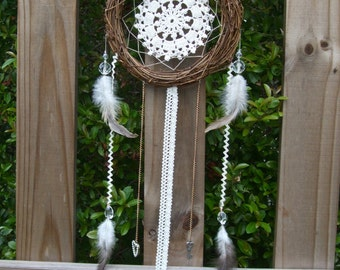 "7.5"" Lace Wreath Dream Catcher - boho, holiday gift, housewarming, nursery"