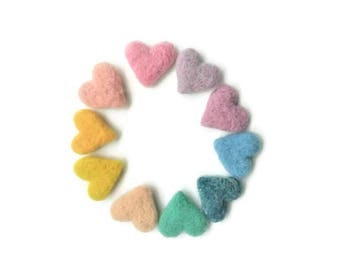 100% Wool Felt Heart - 20 Count - Approx 3cm - Assorted Light, Pale & Pastel Colors - Wool Felted Hearts - Felt Pom Poms