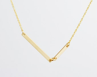 Double Bar Asymmetrical necklace - 2 gold bars chevron necklace - minimalist necklace - v necklace - gold filled chain - Diagon Gold