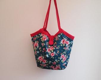 Floral Reversible Fabric Bucket Bag