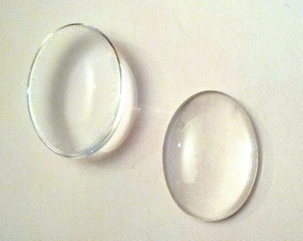Lot 5 transparent - oval glass domes cabochons - 18x25mm