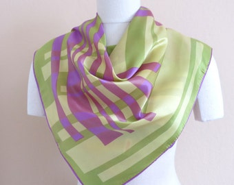 Vintage Scarf Modern Abstract Celery Greens Lavender Ivory Japan 29 by 29 Inches 258b