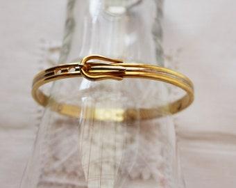 Women's vintage 24K gold plated cuff bracelet belt shaped buckle