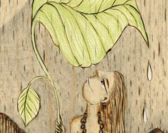 Leaf, Girl, Rain, Hawaiian, beach, Art Print, Ready to Hang, Canvas, 10x20