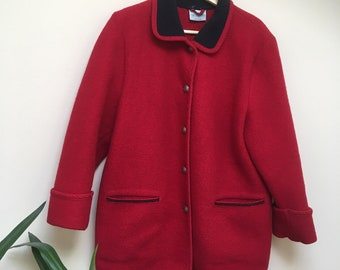 Vintage Red Wool Coat Jacket Size Large Woman