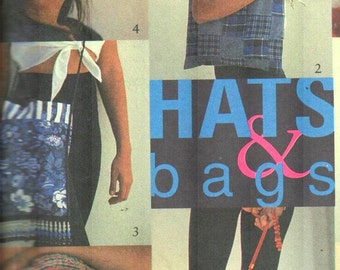 Style 2424, Sz Sml-Lrg/Ladies Tote Bag/Carryall/Purse and Cap/Rain Hat/Bucket hat pattern, UNCUT RARE out-of-print Ladies hat pattern