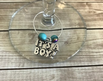 It's A Boy Wine Charm, 1 Wine Charm, Wine Charm, It's A Boy, Wine Glass Charm, Baby Shower, Party Favor, Gender Reveal, Baby Boy, Baby Gift