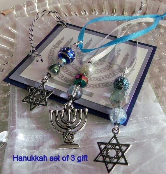 Hanukkah ornaments - gift bag add on - teal crystals - hanging home decor - star of David - set of 3 - Menorah Jewish design - Lizporiginals