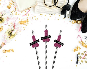 Bachelorette Party Straws - Set of 12 - Funny Party Straws - Paper Party Straws - Straws - Penis Party Straws - Bachelorette Decor