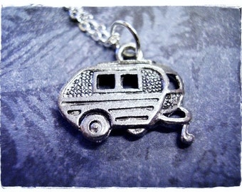 Silver Camper Necklace - Antique Pewter Camper Charm on a Delicate Silver Plated Cable Chain or Charm Only