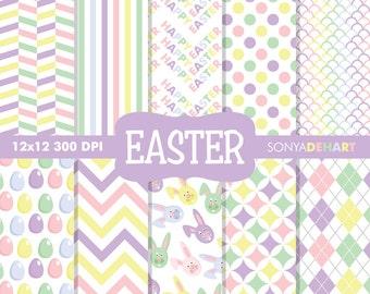 Easter Digital Paper, Spring Digital Paper, Digital Paper, Easter Backgrounds, Easter Digital, Easter Bunny Pattern