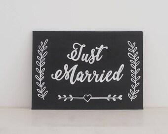 Wedding Chalkboard - Just Married Sign // Chalkboard Wedding Sign // Car Sign // Wedding Sign - A5 MDF Real Sign