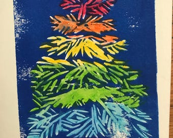 Rainbow Christmas Card or Print, 5 x 7 inches; 1 for 5 dollars or 5 for 20