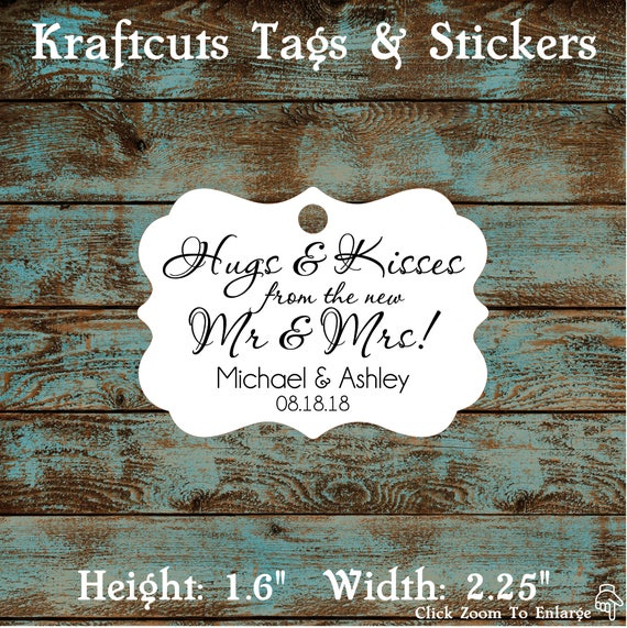 Hugs and Kisses Wedding Reception Favor Tags # 665 Qty: 30 Tags