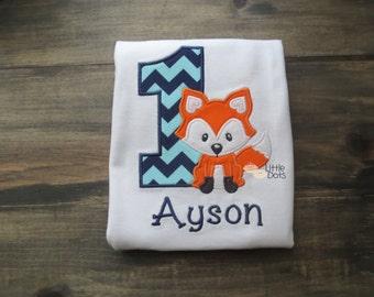 Girls/ Boys Fox birthday shirt - first birthday - applique shirt