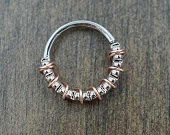 Grooved Septum Ring Silver Daith Piercing Rook Earring Hoop