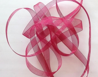 Ribbon ORGANZA x 4 m - 9 mm raspberry color - REF. 822