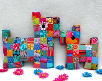 Dog Pillow Pattern Plush Patchwork Puppy Tutorial PDF Quilted Stuffed Baby Toy Cushion Scrap Buster Flatty Dog Mama and Baby La Todera