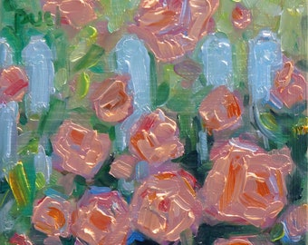 """Roses In Bloom, original oil painting miniature by puci, 3.5"""" x 3.5"""""""