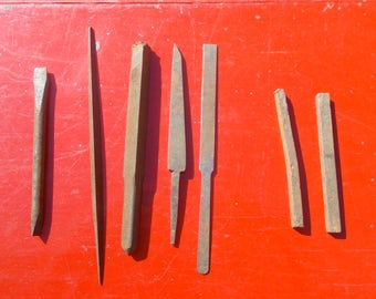 Assortment of metal tools files punches drill bit drill chuck and more eleven pieces supplies wood working metal finishing repurpose