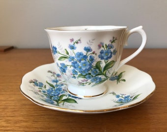 "Royal Albert ""Forget Me Not"" Vintage Teacup and Saucer, Blue Flower Tea Cup and Saucer, Floral English China"