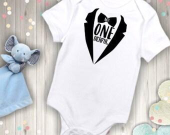Infant Boy/Boy's First Birthday/Mr. ONEderful Tuxedo bodysuit