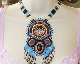 Wolf Spirit Bead Embroidered Gemstone Necklace