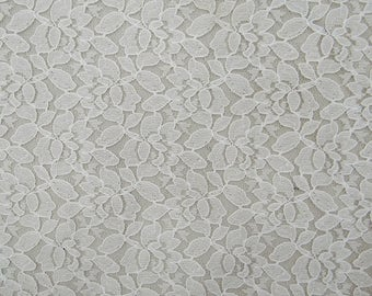 "Ethnic Net Lycra Fabric, Floral Design, White Fabric, Dress Material, Quilting Fabric, 43"" Inch Fabric By The Yard ZBD221A"