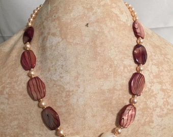 Freshwater Pearl, Painted Shell Components, Swarovski Pearls Necklace