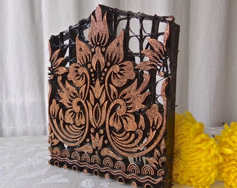 Vintage Batik Tjap Stamp Copper Indonesian Fabric Print Stamp Copper Art Block 1950s