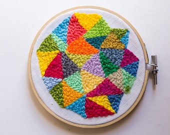 Geometric Embroidery/Punch Needle Art/Rainbow Embroidery/Simple Embroidery/Fiber Art/Gift for Her/Housewarming Gift/Floral Embroidery