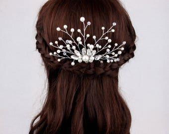 Pearl Bridal Hair Accessories Wedding Hair Comb Bridal Hair Piece Crystal Bridal Headpiece Bride Crystal Hairpiece Bridal Hair Comb Vine