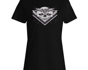 Skull Sacred Geometry Ladies T-shirt u638f