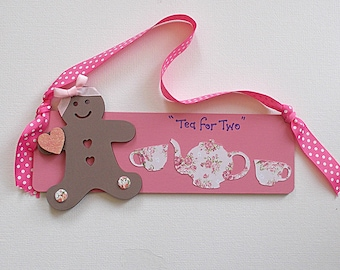 Wooden Plaque Tea for Two with Gingerbread Girl & Teapot