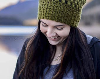 Slouchy Puff Stitch Beanie - Adult hat - Adult slouchy beanie - winter hat - puff stitch hat