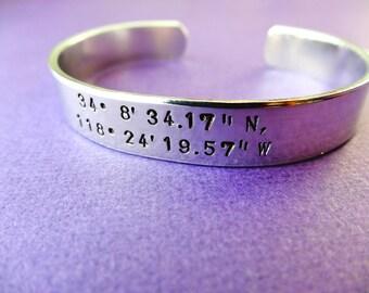 Longitude Latitude Bracelet - Latitude and Longitude Cuff - Custom Bracelet - 3/8 inch