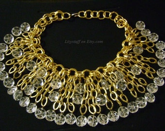 Showstopper Massive Victorian Gold Gilt Chain With Faceted Clear Lucite Dangling Dripping Dramatic Cascading Bib Runway Worthy Necklace 204g