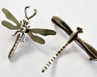 Two Vintage Sterling Dragonfly Brooches